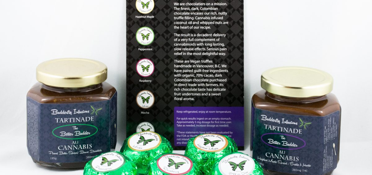 Cannabis-infused chocolates by Budderfly Infusions