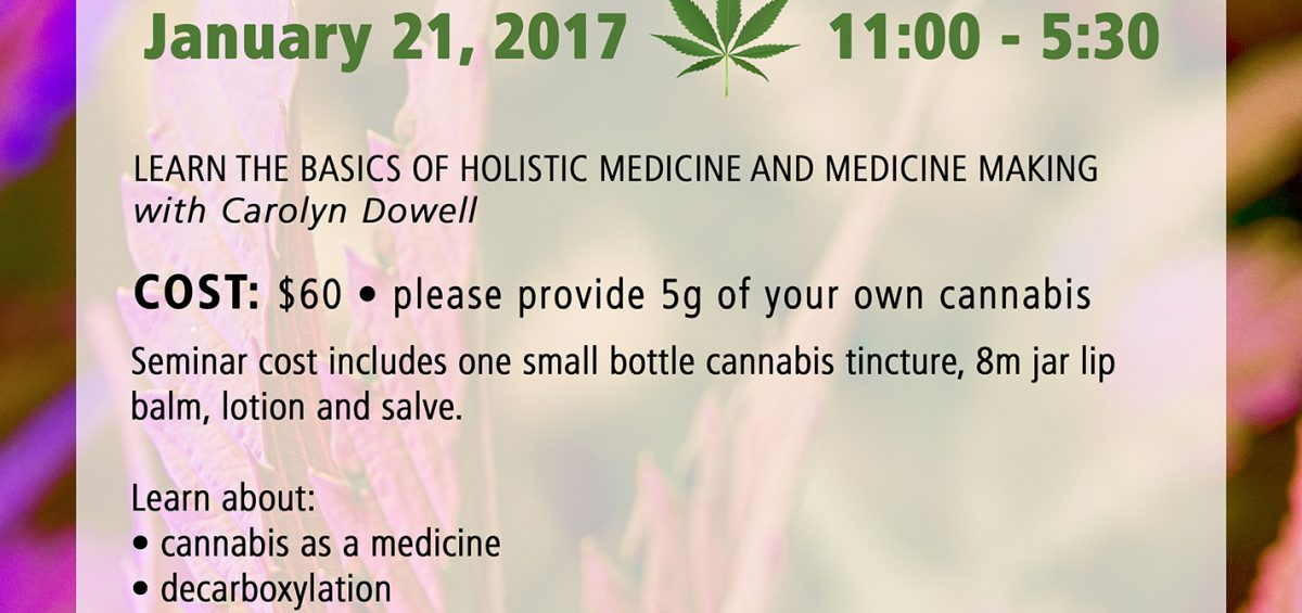 Cannabis Tinctures and Topicals Workshop, January 21, 2017