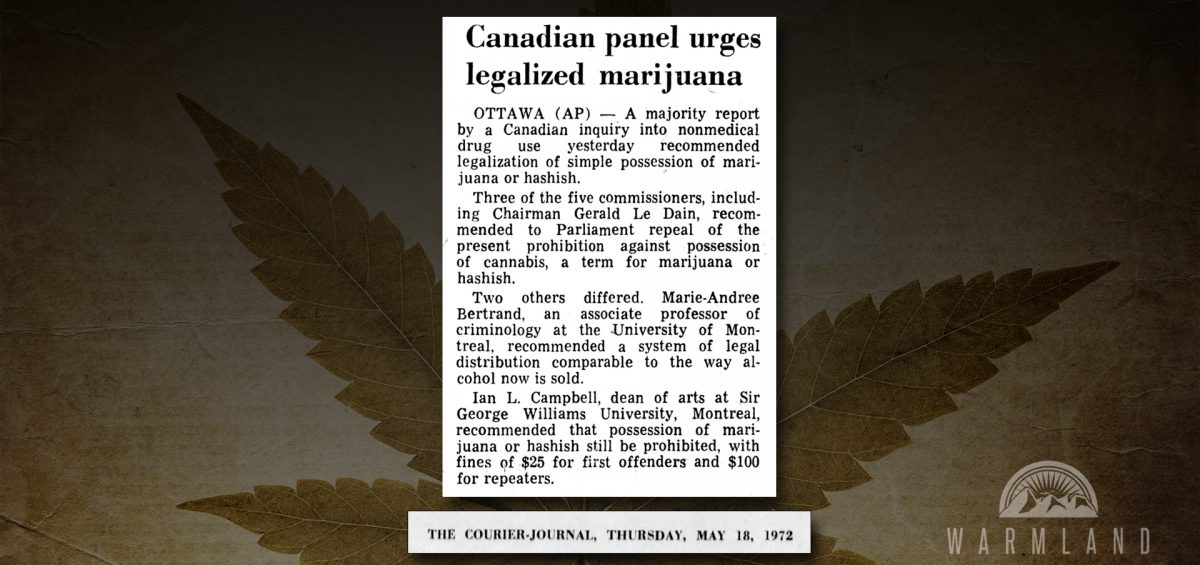 LeDain Commission Cannabis Legalization (1972)