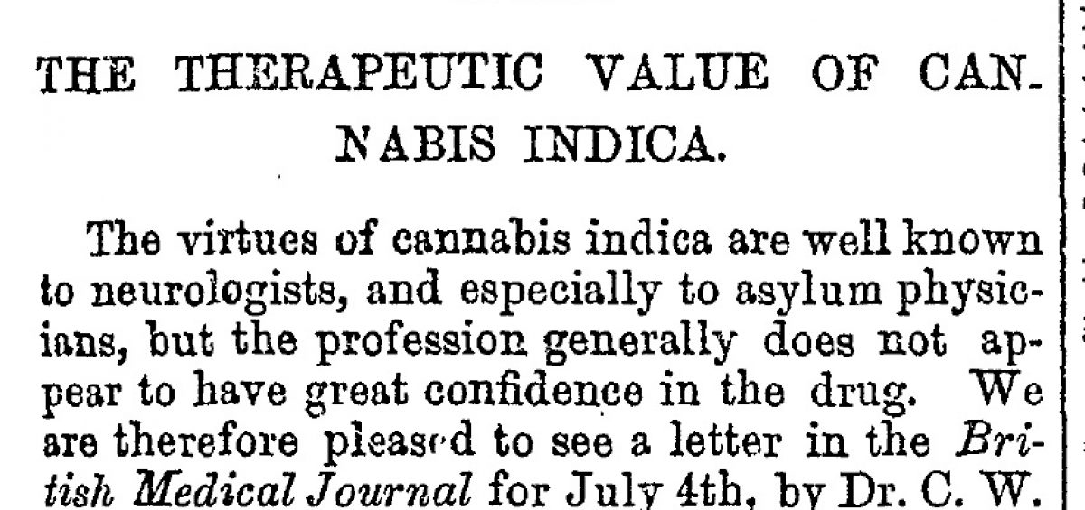 Cannabis Indica article from Canada Medical Record (1891) #CannabisHistory