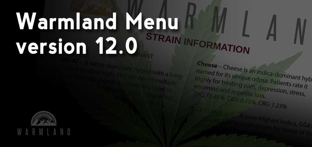 Warmland Cannabis Flower Menu version 12.0