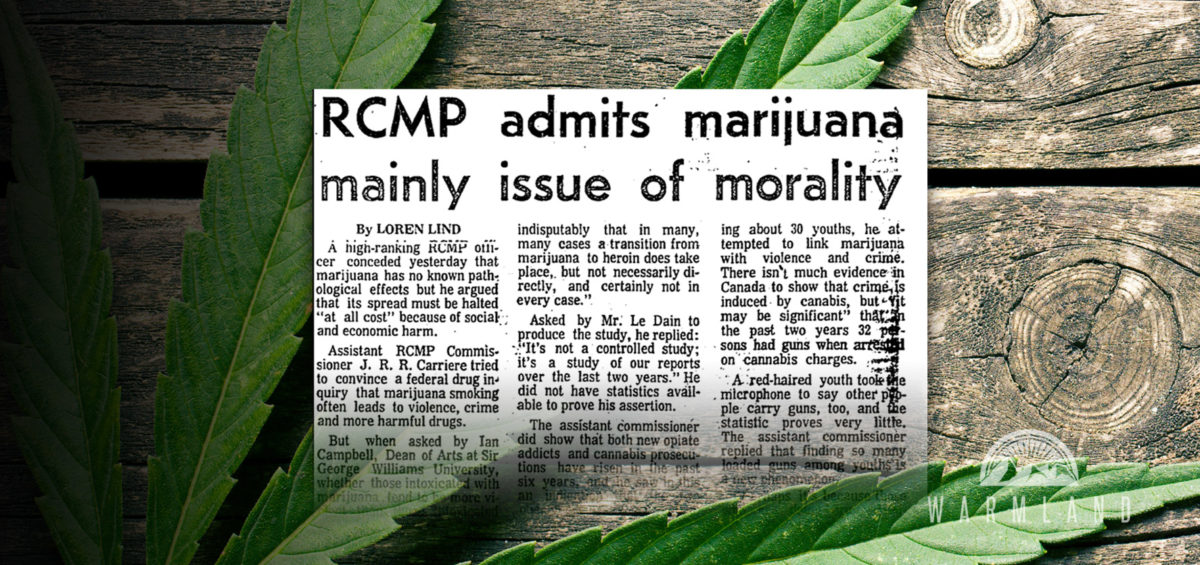 RCMP admits marijuana mainly issue of morality