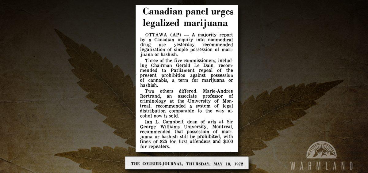 LeDain Commission Cannabis Legalization (1972)